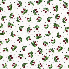 Very Cherry on White  Mary Engelbreit  Fat by BywaterFabric
