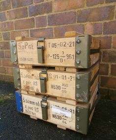NATO Ammo Box Wooden Tool Box Ammunition Storage With Carry Handles Army Surplus in Collectables, Militaria, Surplus/ Equipment   eBay