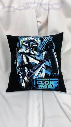 Star Wars Bounty Hunter t-shirt made into a pillow cover. Villain bedding