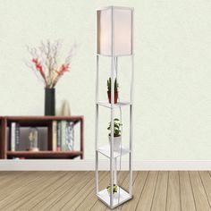Led Wood Floor Lamp Shelf Standing Light Storage Shade Modern Bedroom  Office US