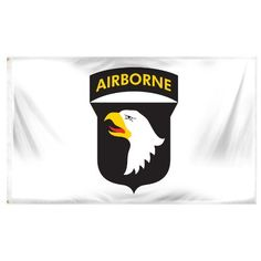Online Stores Superknit Polyester 101st Airborne Flag, 3 by 5-Feet by Online Stores. $12.68. Canvas header and brass grommets. Very attractive. Very durable. The Superknit fabric is more durable than the printed polyester fabric and in many cases lasts as long as the more expensive nylon flags. All of our Superknit polyester flags have a heavy duty header, brass grommets and stitching on the fly end which extends durability.