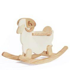 WOODSTUDIOALP Wooden Rocking Cream Sheep 100% Handmade WO...