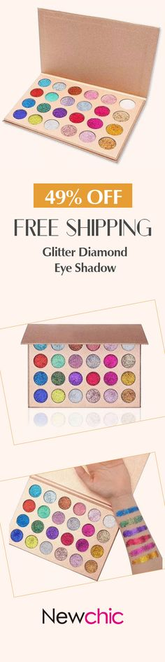[Newchic Online Shopping] 49% OFF 24 Colors Glitter Diamond Rainbow Eye Shadows Palette Pressed Makeup Cosmetic