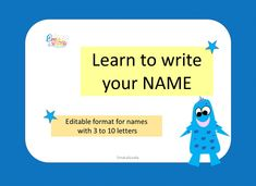 Learn to Write Your Name, Editable Format for Name Tracing, Custom Name Practice Mat Powerpoint Program, Powerpoint Format, Printable Math Games, Name Practice, Name Tracing, Learning To Write, Your Name, Writing Ideas, Language Arts
