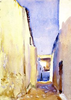 John Singer Sargent Tangier, 1895 Watercolor, gouache, and graphite on white wove paper Dimensions: 13 x 9 in. x cm) Metropolitan Museum of Art, NYC Watercolor Landscape, Watercolor Art, Met Museum Of Art, John Singer Sargent Watercolors, Sargent Art, Guache, Famous Artists, Metropolitan Museum, American Artists