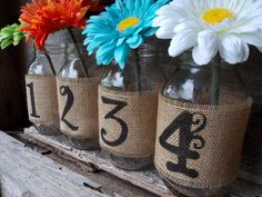 Burlap Mason Jar Table Numbers DIY Mason Jar by DownInTheBoondocks, $2.50