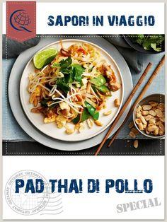 Noodles di riso o di grano saraceno, lime, salsa di pesce, zucchero di canna, olio di semi di arachidi, pollo tagliato a dadini, peperoni, scalogno, pepeoncino, arachidi, coriandolo e germogli di soia per cucinare un saporito, gustoso e soprattutto veloce pad thai! La ricetta thailandese che stupisce ogni volta e regala un tocco etnico alle vostre serate!