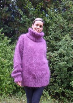 neon purple Knit Mohair Fluffy Jumpers, long sleeves Knit high neck Mohair loose pullover Sweater #mohair #oversized #sweater www.loveitsomuch.com