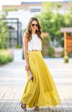 Brighten up any outfit (and your day) with this gorgeous yellow maxi skirt! We love how blogger Carrie Bradshaw Lied styled it here. Click to shop this look!