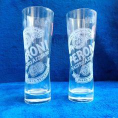 Lot of 2 Italian Peroni Nastro Azzurro 0,2l Etched Beer Glasses