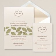I think this site is a little too expensive for invitations, but I do like the leaves belly band - very cute.
