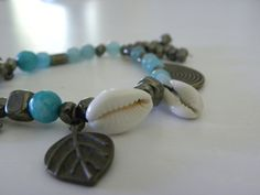 mix+antique+copper,+amazonite+and+shells+together+and+this+is+what+you+get Antique Copper, Shells, Jewels, Antiques, Conch Shells, Antiquities, Antique, Jewerly, Seashells