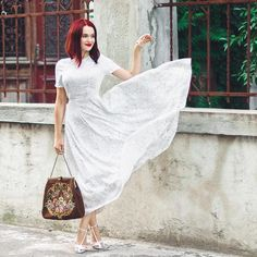"12.4 k mentions J'aime, 30 commentaires - Andreea Balaban (@andreea.balaban) sur Instagram : ""Eu am o treabă cu rochiile fâlfâinde."" White Dress, Spring, Instagram Posts, Stitches, Inspiration, Outfits, Beauty, Dresses, Fashion"