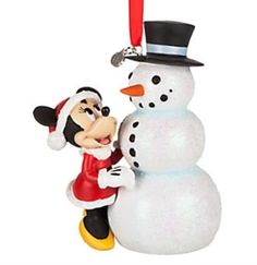 Disney Store 2016 Minnie Mouse with Snowman Sketchbook Ornament