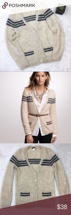 J.Crew Mohair Retro-Striped Sweater J.Crew grey and cream mohair retro-striped cardigan. Size medium. Approximate measurements flat laid are 26' long, 25' sleeve, and 18' bust. EUC with two fabric pulls. One behind left arm and one on seam on the back of shoulder. SUPER soft. ❌No trades ❌ Modeling ❌No PayPal or off Posh transactions ❤️ I 💕Bundles ❤️Reasonable Offers PLEASE ❤️ J. Crew Sweaters V-Necks