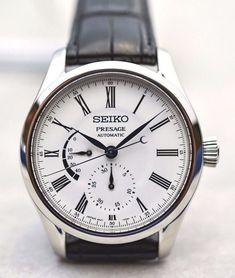 Seiko Presage, Seiko Watches, Automatic Watch, Omega Watch, Watches For Men, Enamel, Pretty Face, Random Stuff, Leather