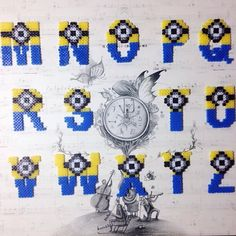 Minion alphabet M-Z hama perler beads by chittyqy