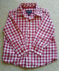 THE CHILDREN PLACE TODDLER BOYS Long Sleeve Button Down Plaid Shirt Size 3 T #TheChildrensPlace #DressyEverydayHoliday