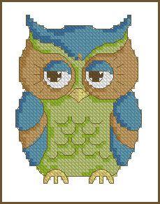 Cross stitch owl for boy