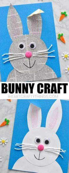 This newspaper bunny craft we are sharing today is super simple to make for kids. - This newspaper bunny craft we are sharing today is super simple to make for kids of all ages and it - Easter Arts And Crafts, Animal Crafts For Kids, Winter Crafts For Kids, Bunny Crafts, Spring Crafts, Toddler Crafts, Art For Kids, Preschool Easter Crafts, Children Crafts