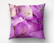 Pink Hydrangea Floral Pillow, Macro Photography, Pink Petals Decor, 18x18 Cover