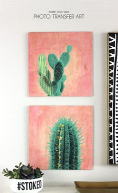 make your own photo transfer art on wood - cactus print diy idea bright home decor wall art tutorial Diy Wand, Diy Wall Art, Wood Wall Art, Art Watercolor, Cactus Art, Cactus Decor, Cactus Plants, Indoor Cactus, Photo Transfer