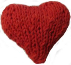"Knit heart.  East, fun pattern.  It took about two hours to knit, and that time included the time it took to add beads (bling).  Trial and error taught that it was best to use a double strand of DK or worsted yarn.  .  Then weave the ends into the back to hide the holes made by the ""make ones"" in the pattern.  Sew two hearts together, stuff,  add a yarn strand or ribbon as a hanger, and done.  Finished size is about 4"" by 4"".  Super cute and easy to make.  Great Valentine's Day door hanger."