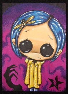 Coraline by Michael Banks (Sugar Fueled) Vodoo Tattoo, Chibi, Tim Burton Art, Horror, Arte Obscura, Dibujos Cute, Creepy Art, Gothic Art, Whimsical Art