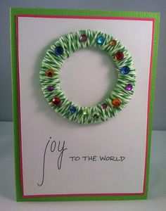 Joy to the World Handmade Christmas Card - wrap a paper ring with twine.