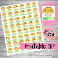 Taco stickers Taco Planner Stickers Taco Tuesday stickers
