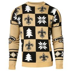 0b6b9c2e085 New Orleans Saints Forever Collectibles Black   Gold Knit Patches Ugly  Sweater