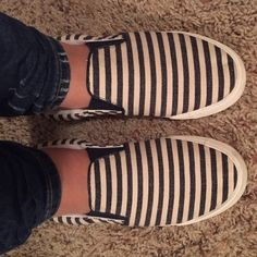 LOFT Canvas Slip On In excellent condition. Only worn once or twice. Trying to clear my closet before a big move. There are a cream and blue stripe pattern. So comfy and trendy! LOFT Shoes Sneakers