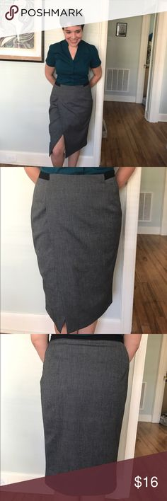 Zara skirt, black and white Cool skirt from Zara Basic. It has a fine black and white woven pattern-- sort of like a tiny herringbone. Black waist detail wraps around the back. Faux-wrap style that wears a little like a slit. Fully lined. Excellent used condition. Zara Skirts