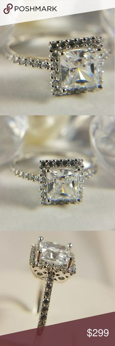 14k Solid White Gold Princess cut Engagement Ring This is a Solid 14k white gold Engagement Ring with 1.25ct man made Diamond / Cubic Zirconia Princess cut Center stone and total of 1.5ct man made Diamond stones Available in sizes 5 6 7 8 9 Jewelry Rings