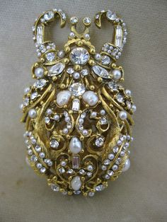 BARRERA Gold Tone Filigree Crystal Pearl Beetle Bug Brooch Neiman Marcus.