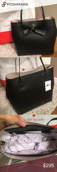 """JUST INKate Spade Giorgia Tote ⭐️NWT Kate Spade Large Giorgia Bag.. Gorgeous Black pebbled leather outside lined in a beautiful tan on the inside Bow in black on the front of the bag 1 zippered and one large slip pocket inside10"""" Strap drop.. Pretty scalloped edging across the top Dimensions 13L x 12H x 6W..  THIS LINE JUST CAME OUT 1/6/2017.. NEW SPRING LINE.. NO LOWBALLS THANKS!!NO TRADESCan do less on Ⓜ️ kate spade Bags Totes"""