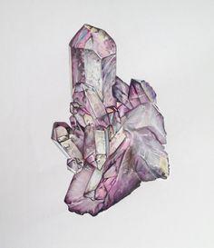 Crystal Quartz Cluster Art Drawing Elle Wills Pencil