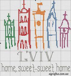 Схема для вишивання: Львів відкритий для світу (логотип) - Agrafka Blog