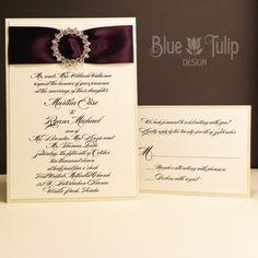 Iced Plum Wedding Invitation by mybluetulipdesign on Etsy, $7.75