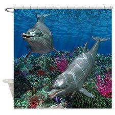 A family of orca whales swimming in the ocean Shower Curtain Fabric /& 12Hooks