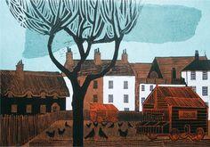 Kentish Village Linocut by Robert Tavener Woodcut Art, Wood Engraving, Beautiful Paintings, Art Techniques, Graphic Illustration, Art Projects, Art Prints, Lino Prints, Drawings