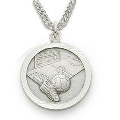 Sterling Silver Soccer Medal, St. Christopher on back http://www.truefaithjewelry.com/sm0930sh.html