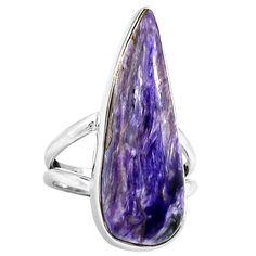 Siberia Charoite 925 Sterling Silver Ring Jewelry 2577R - JJDesignerJewelry