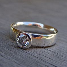 Moissanite and Recycled Palladium Sterling Silver Wedding Ring, Made To Order on Etsy, $428.00