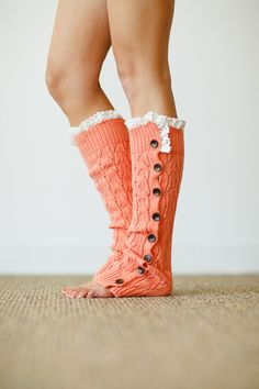 buttoned up lace leg warmers in apricot... could these be any cuter?