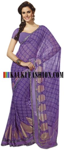 Buy Online from the link below. We ship worldwide (Free Shipping over US$100) http://www.kalkifashion.com/purple-saree-with-printed-butti.html Purple saree with printed butti