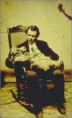 Any Daguerreotype BF worth his salt loves his dog. [tintype self-portrait of photographer E. Scholfield in a rocking chair, cradling a dog], E. Scholfield via Connecticut History Online, Mystic Seaport, Scholfield Collection Vintage Pictures, Old Pictures, Portraits Victoriens, Post Mortem Pictures, Post Mortem Photography, Cat Dog, Vintage Dog, Old Dogs, Vintage Photographs