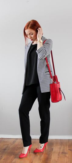 The Striped Blazer outfit. Business casual and corporate wear inspiration.