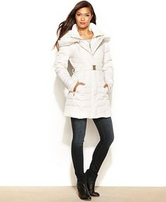 kensie Hooded Quilted Belted Down Puffer, macy's