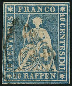 Aa-Strubel (Munich Printing, 1. Edition) 10 Rp. dull blue, 1. Munich printing, fresh colors in faultless condition, neat cancelled, (Michel. No. 14Ia), attest Moser-Räz, photo expertize from the Weid. SBK 1300,- Sfr.  Dealer Gert Müller Auctions  Auction Minimum Bid: 200.00EUR